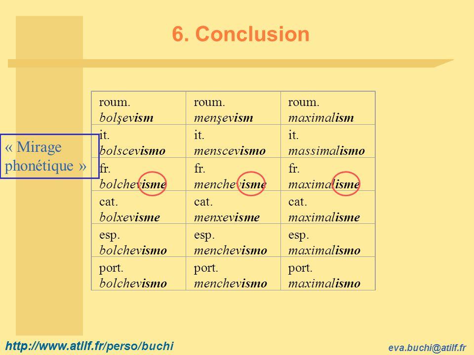 6. Conclusion « Mirage phonétique » roum. bolşevism roum. menşevism