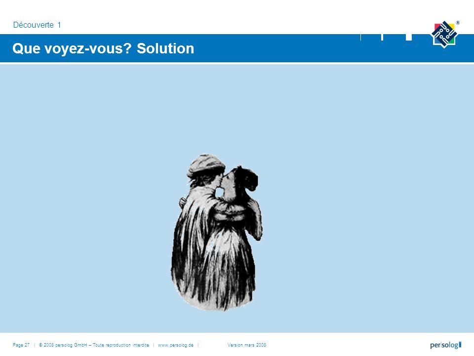 Que voyez-vous Solution