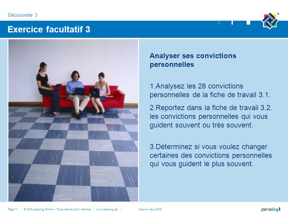 Exercice facultatif 3 Analyser ses convictions personnelles