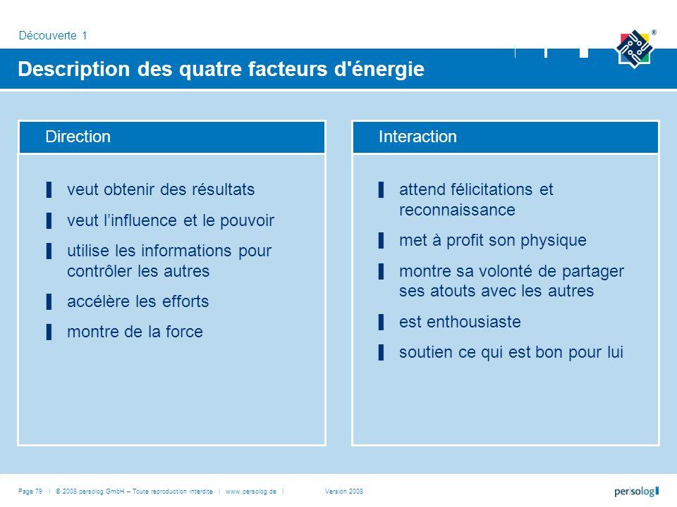 Description des quatre facteurs d énergie