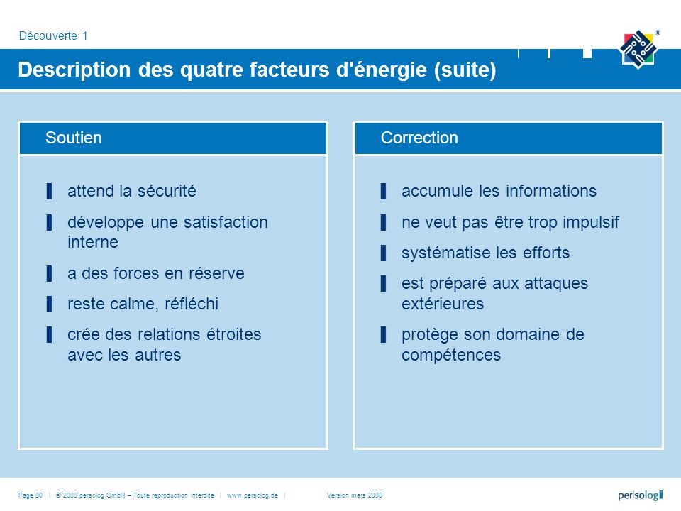 Description des quatre facteurs d énergie (suite)