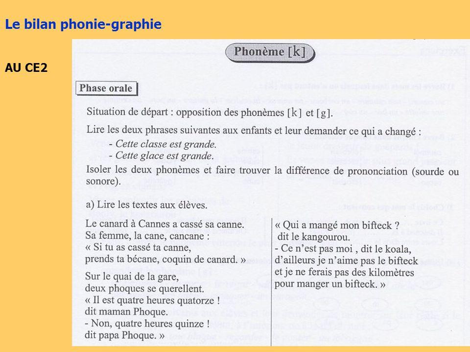 Le bilan phonie-graphie