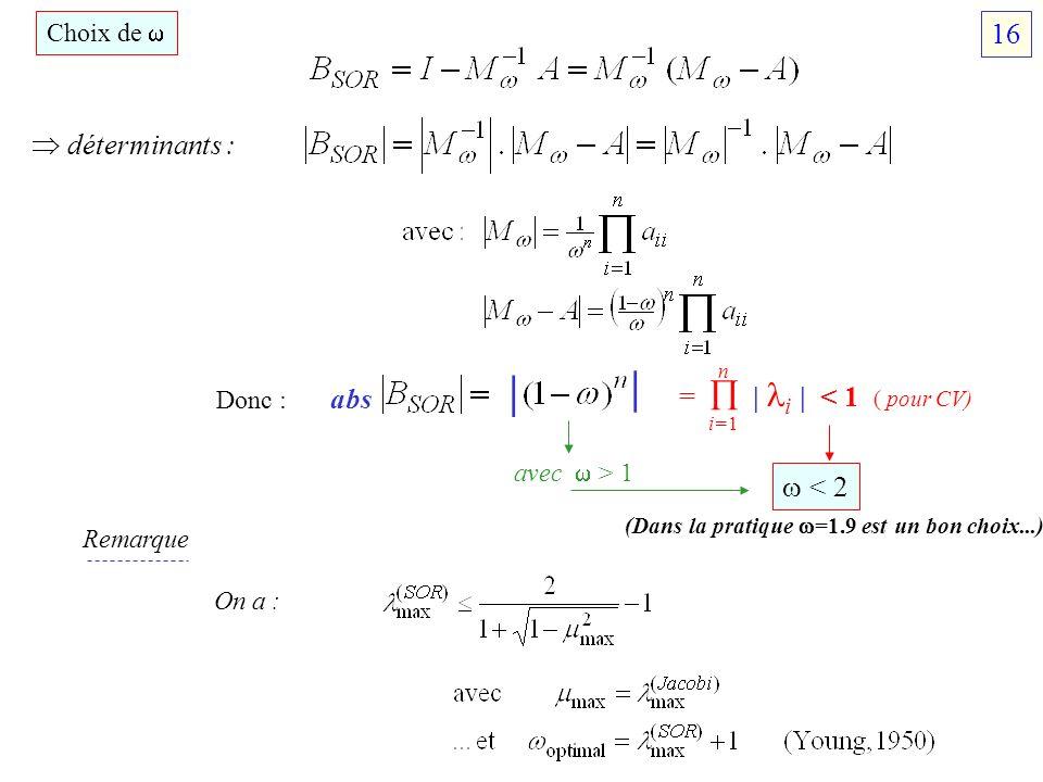 | | 16  déterminants : =  | i | < 1 ( pour CV) abs  < 2