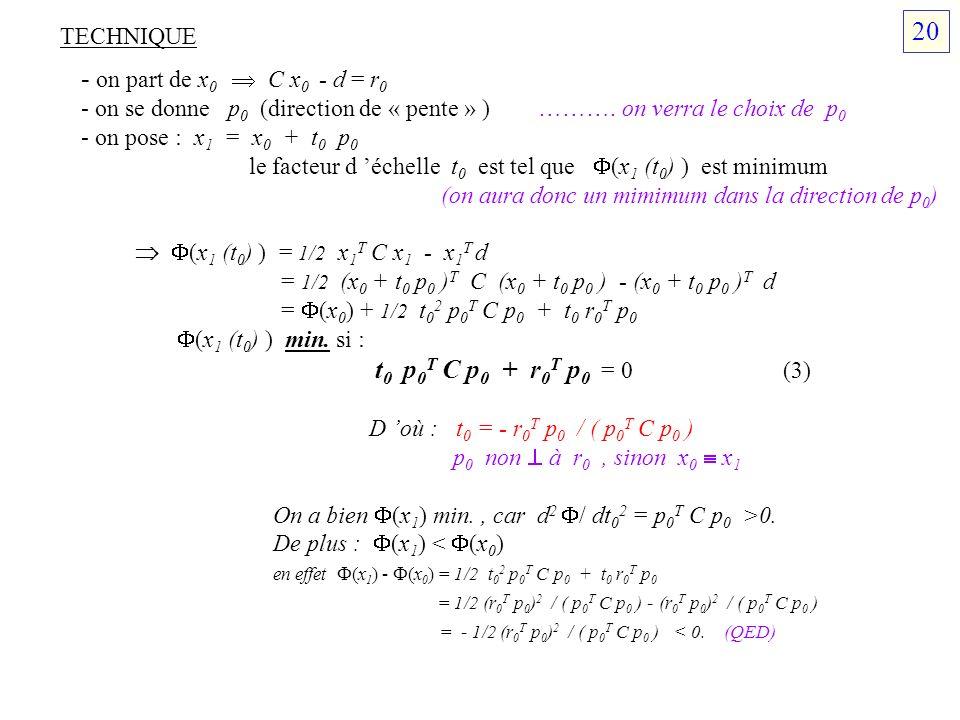 20 - on part de x0  C x0 - d = r0 TECHNIQUE