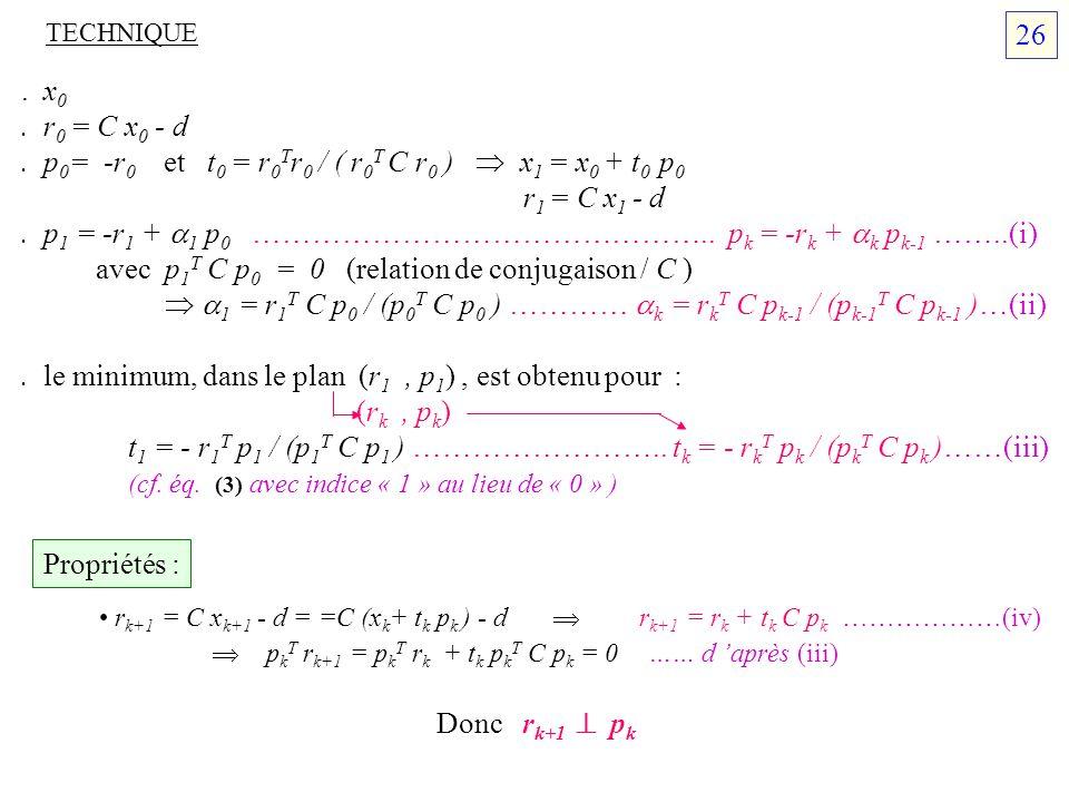 . p0= -r0 et t0 = r0Tr0 / ( r0T C r0 )  x1 = x0 + t0 p0 r1 = C x1 - d