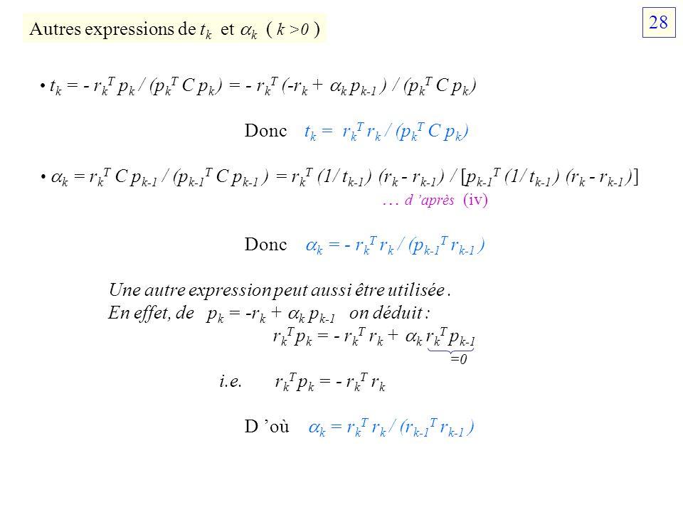 Autres expressions de tk et k ( k >0 )
