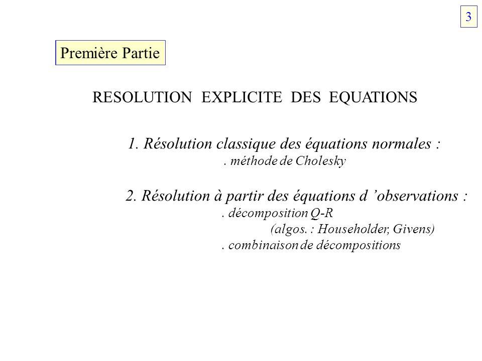 RESOLUTION EXPLICITE DES EQUATIONS