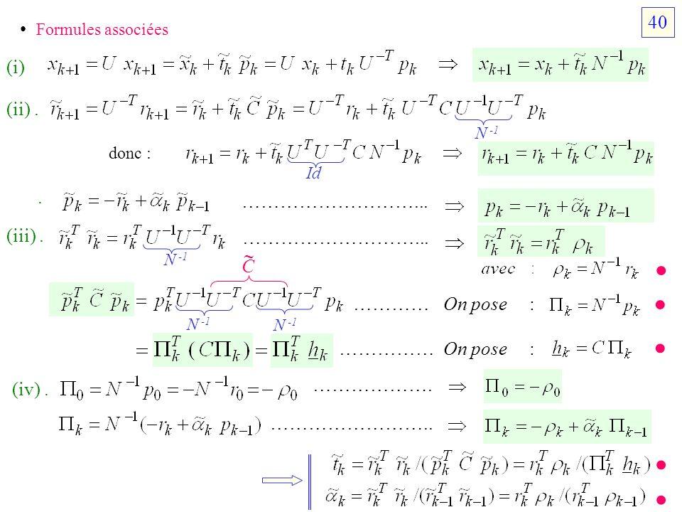 • • • • • 40 • Formules associées (i) (ii) . . ………………………... (iii) .