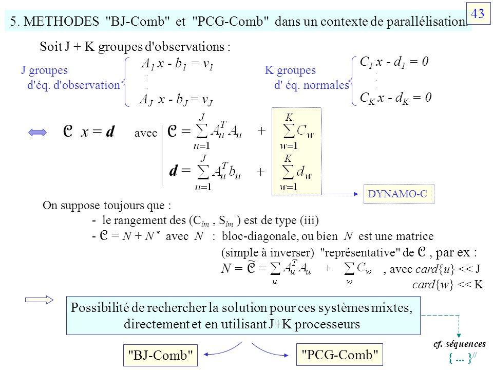 43 5. METHODES BJ-Comb et PCG-Comb dans un contexte de parallélisation. Soit J + K groupes d observations :