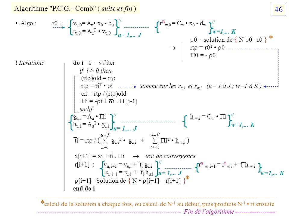 * * * 46 Algorithme P.C.G.- Comb ( suite et fin ) – – – – – – –