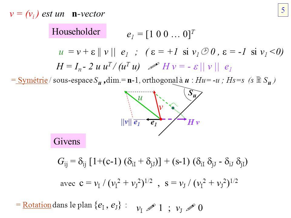 u = v +  || v || e1 ; (  = +1 si v1 0 ,  = -1 si v1 <0)