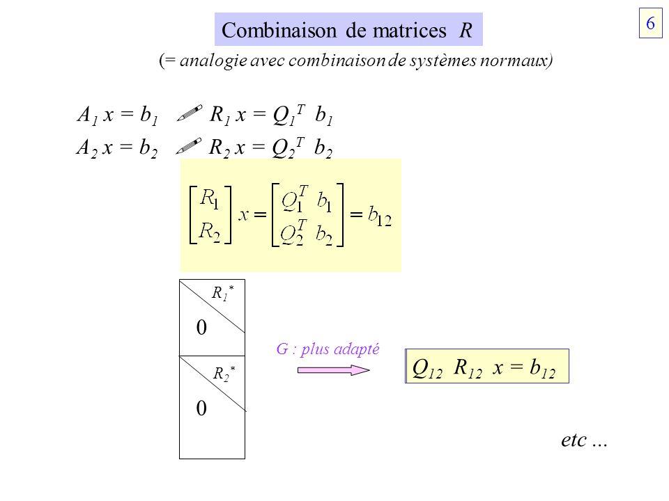 Combinaison de matrices R