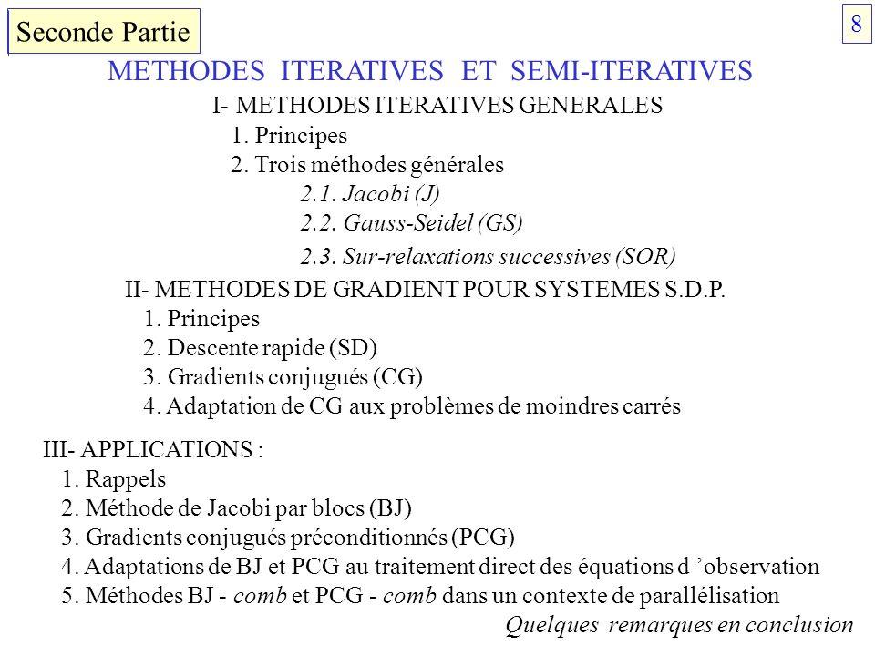 METHODES ITERATIVES ET SEMI-ITERATIVES