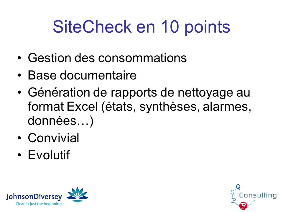 SiteCheck en 10 points Gestion des consommations Base documentaire