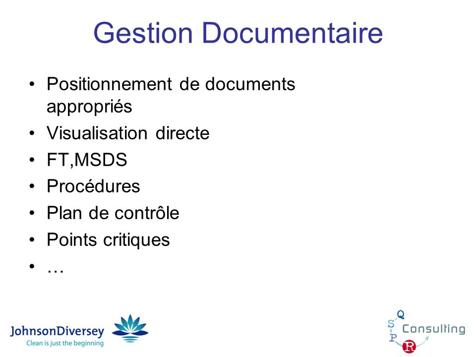 Gestion Documentaire Positionnement de documents appropriés