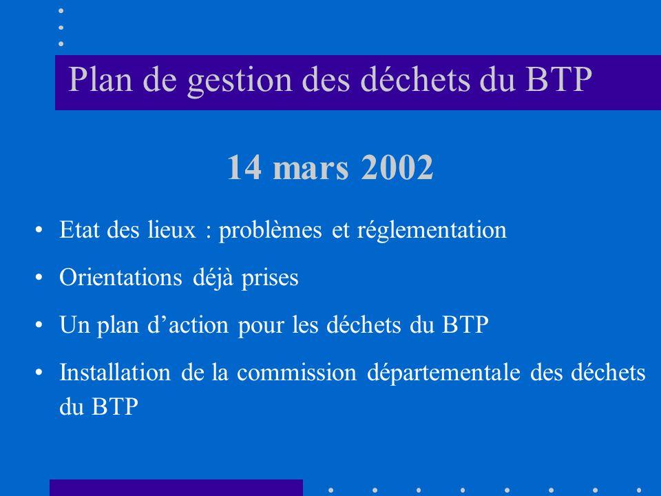 Plan de gestion des déchets du BTP 14 mars 2002
