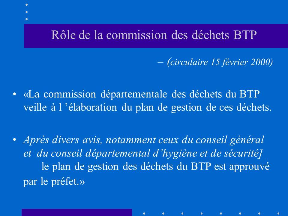Rôle de la commission des déchets BTP