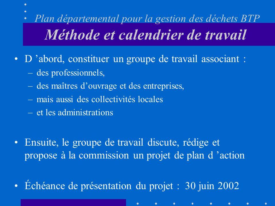 Plan départemental pour la gestion des déchets BTP Méthode et calendrier de travail