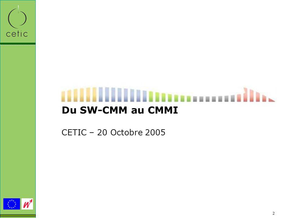 Du SW-CMM au CMMI CETIC – 20 Octobre 2005