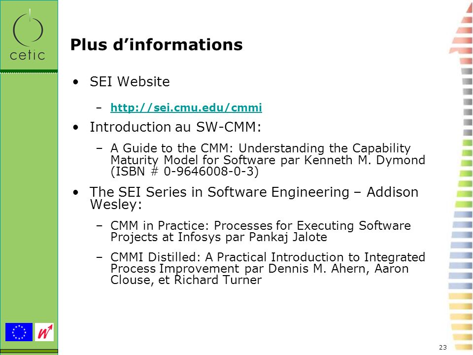 Plus d'informations SEI Website Introduction au SW-CMM: