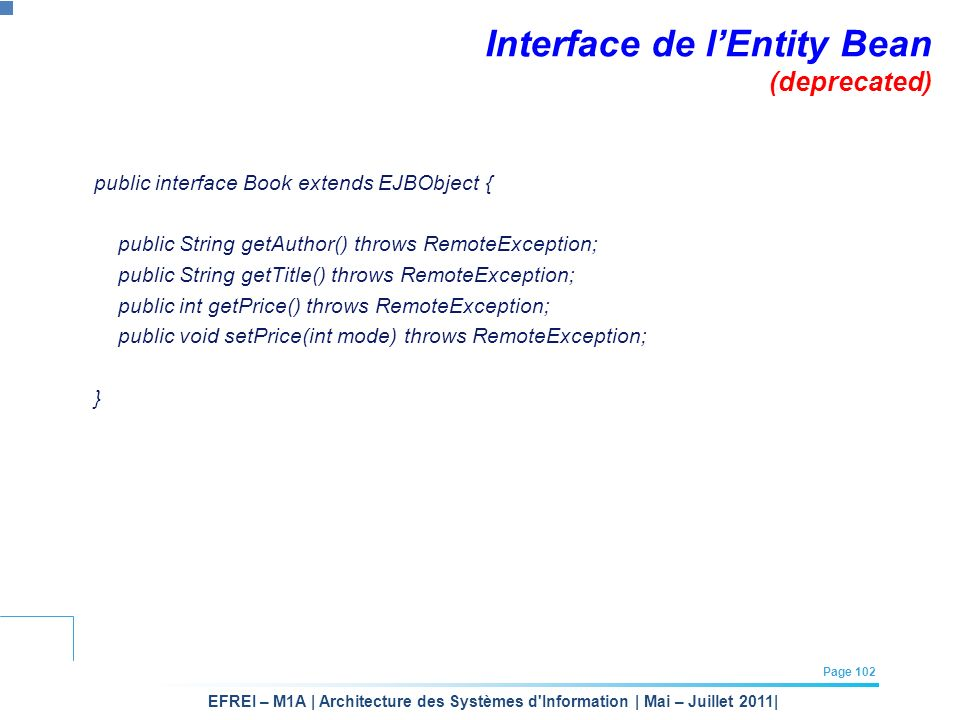 Interface de l'Entity Bean (deprecated)