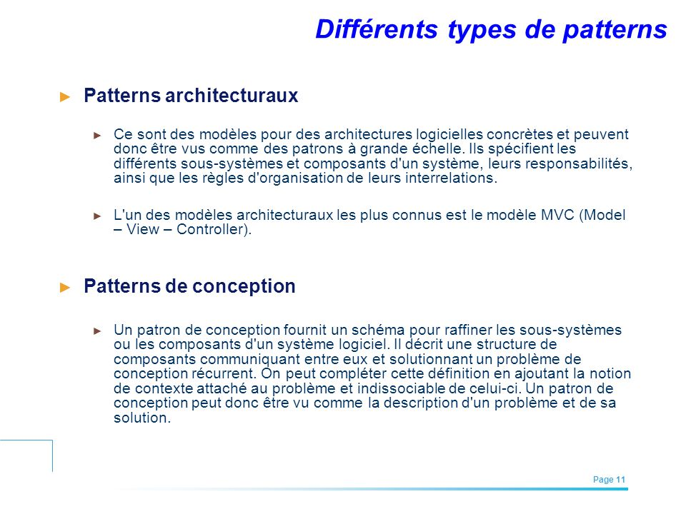 Différents types de patterns
