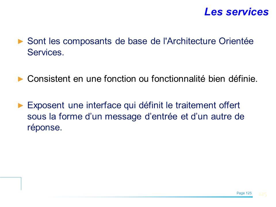Les services Sont les composants de base de l Architecture Orientée Services. Consistent en une fonction ou fonctionnalité bien définie.