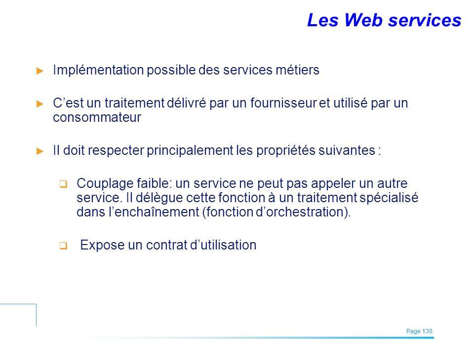 Les Web services Implémentation possible des services métiers