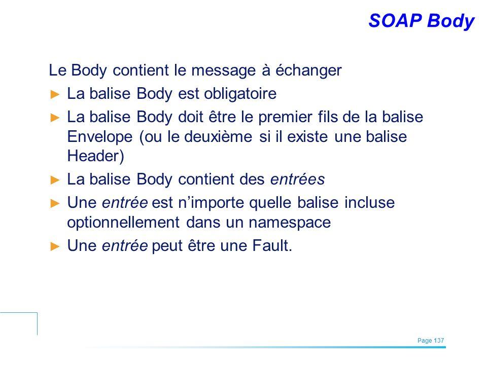 SOAP Body Le Body contient le message à échanger