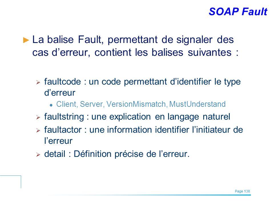 SOAP Fault La balise Fault, permettant de signaler des cas d'erreur, contient les balises suivantes :