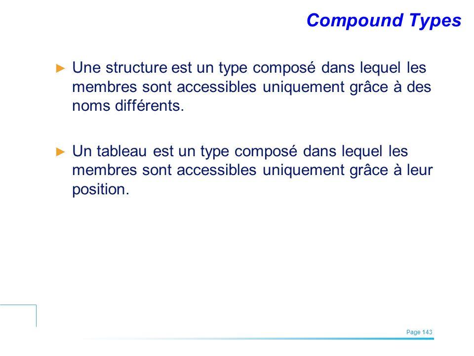 Compound Types Une structure est un type composé dans lequel les membres sont accessibles uniquement grâce à des noms différents.