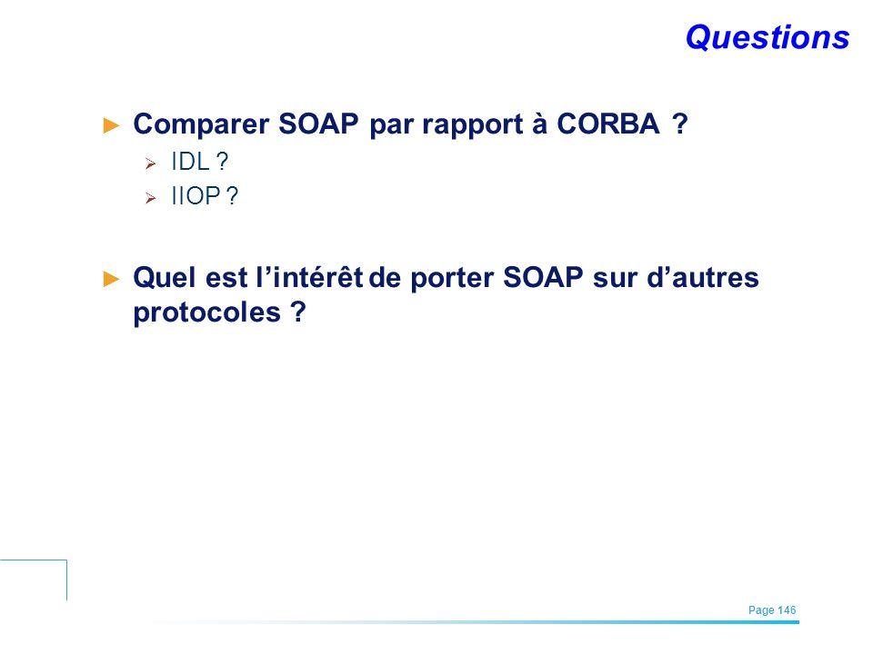 Questions Comparer SOAP par rapport à CORBA