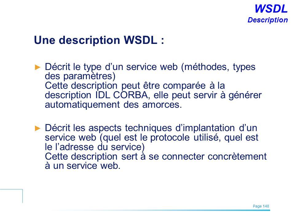 WSDL Description Une description WSDL :