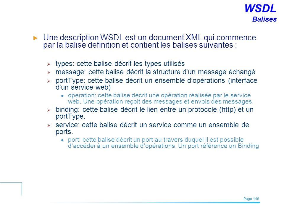 WSDL Balises Une description WSDL est un document XML qui commence par la balise definition et contient les balises suivantes :