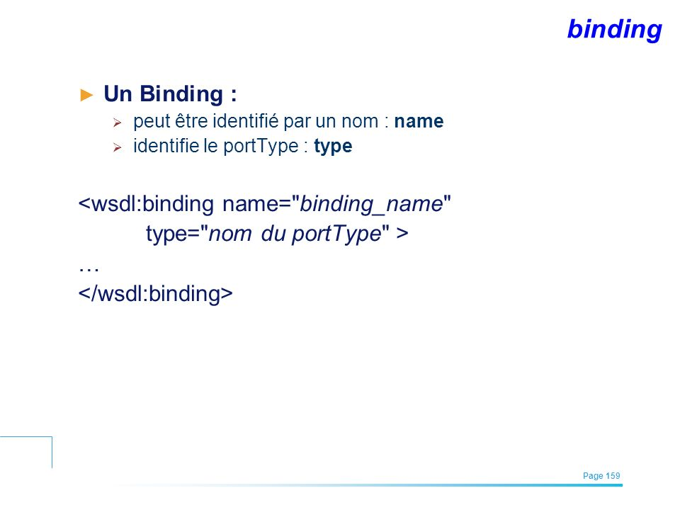 binding Un Binding : <wsdl:binding name= binding_name