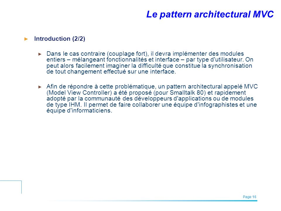 Le pattern architectural MVC