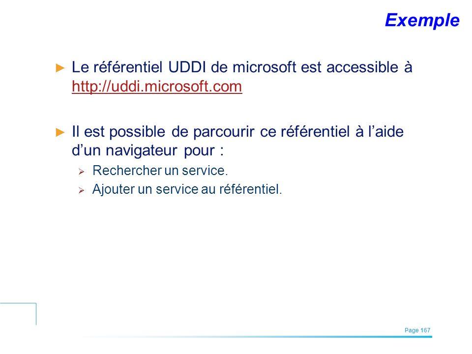 Exemple Le référentiel UDDI de microsoft est accessible à http://uddi.microsoft.com.