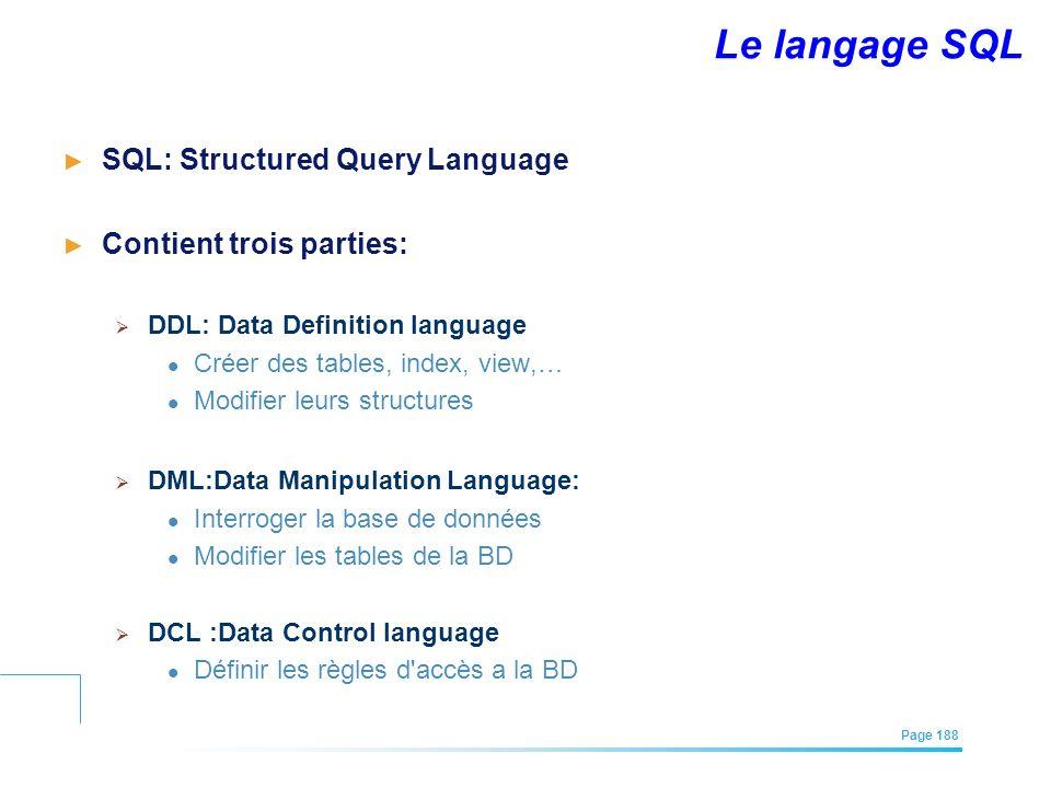Le langage SQL SQL: Structured Query Language Contient trois parties: