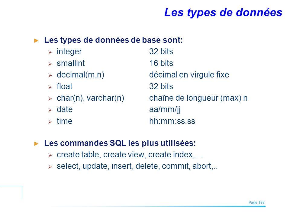 Les types de données Les types de données de base sont: