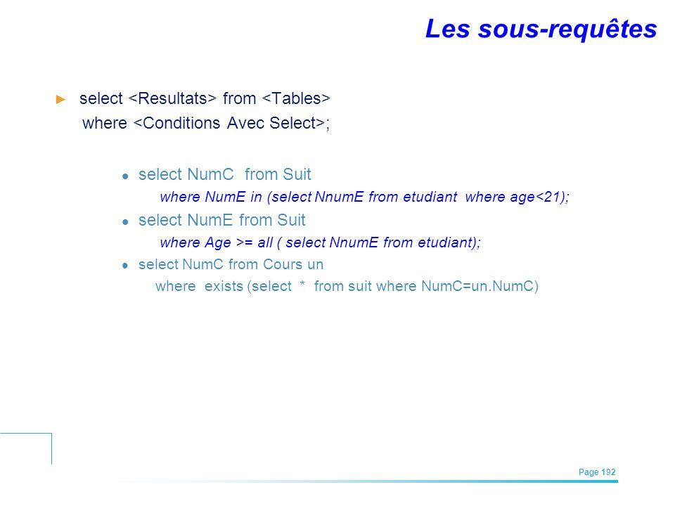 Les sous-requêtes select <Resultats> from <Tables>