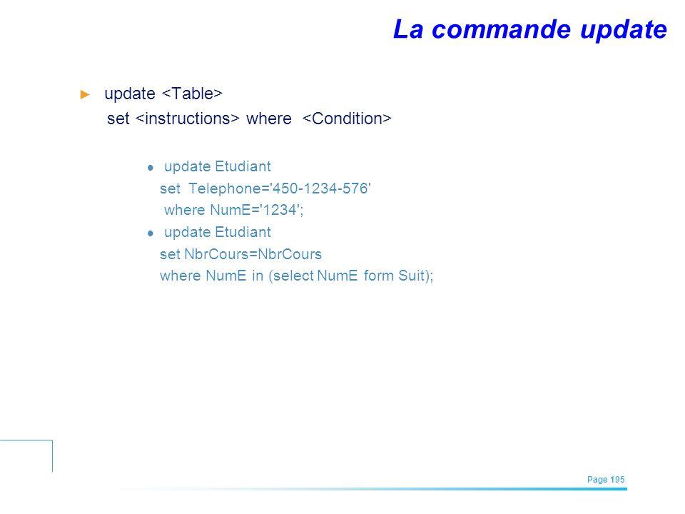 La commande update update <Table>