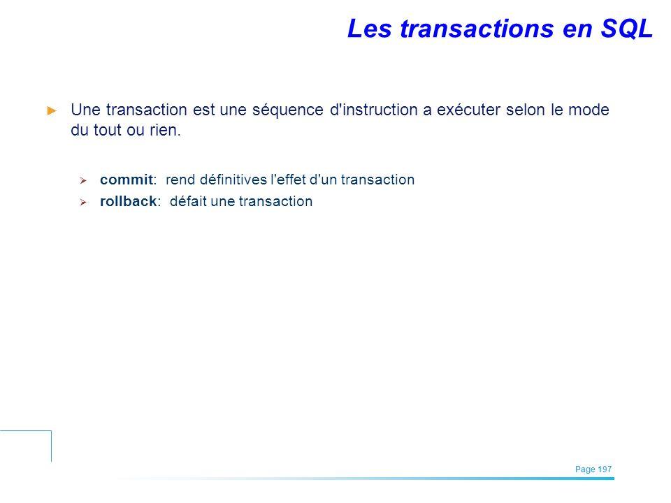 Les transactions en SQL