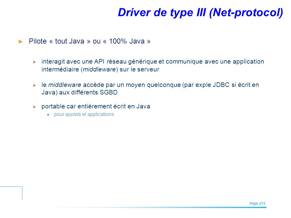 Driver de type III (Net-protocol)