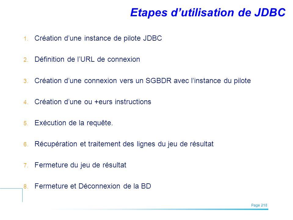 Etapes d'utilisation de JDBC