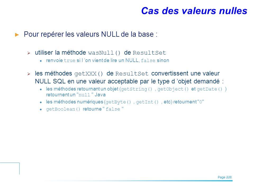 Cas des valeurs nulles Pour repérer les valeurs NULL de la base :