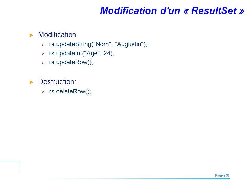Modification d un « ResultSet »