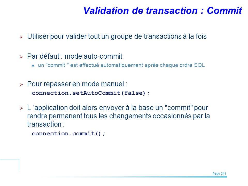 Validation de transaction : Commit