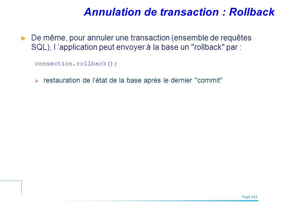 Annulation de transaction : Rollback