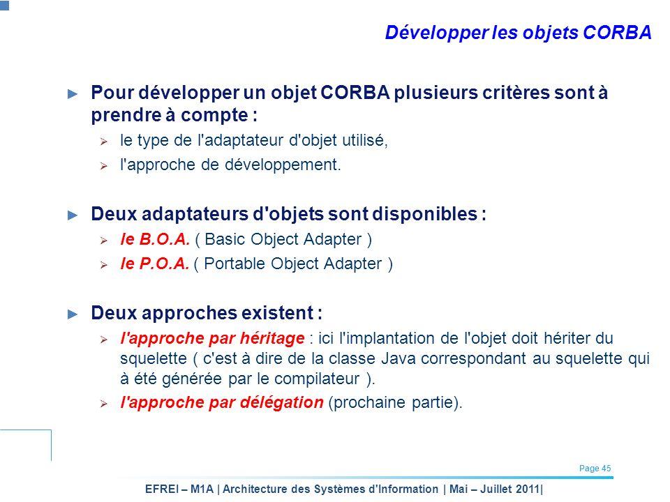 Développer les objets CORBA