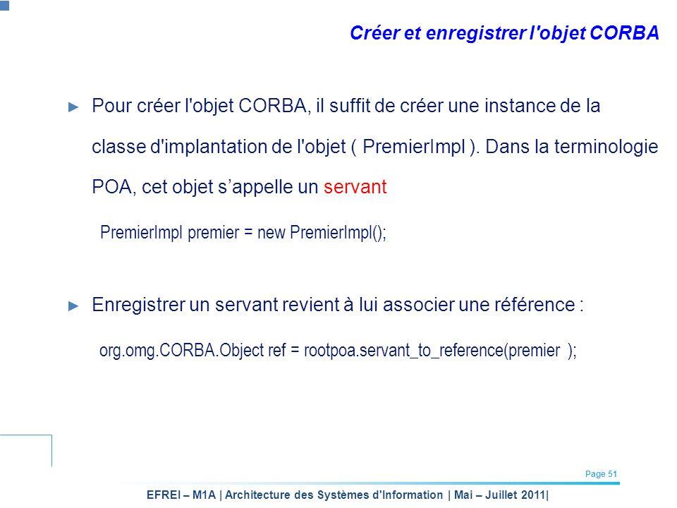 Créer et enregistrer l objet CORBA